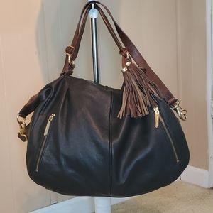 Cynthia Rowley Black/Brown Hobo Leather Bag